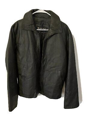 Raffaelo Mens Black Zip Up Leather Jacket Size Small