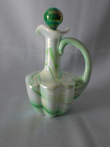 Gibson Art Glass Iridescent Green Slag Glass Melon Shape Cruet with Stopper!!