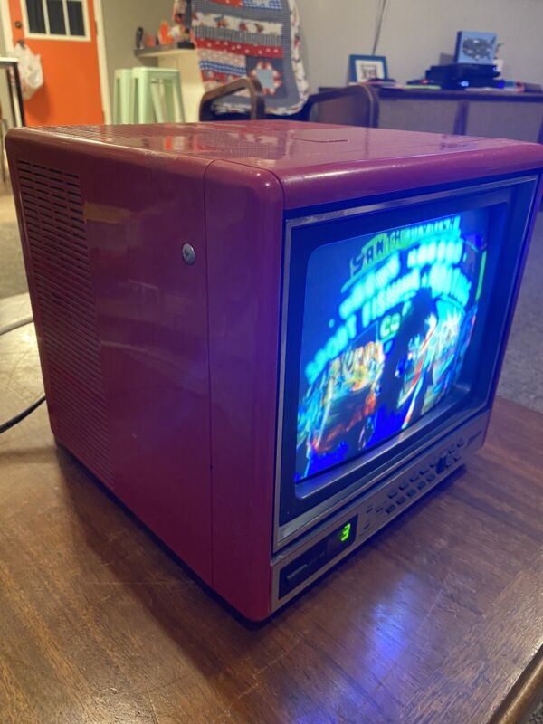 "Vintage Zenith Color TV - 9"" Screen - Small Red Portable Television - CRT Tube"