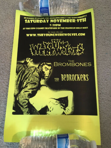 THE YOUNG WEREWOLVES-BROMBONES-BEDROCKERS-CONCERT PROMO POSTER