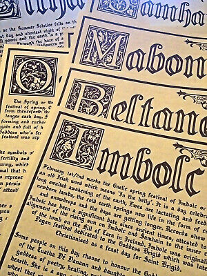 8 Sabbat Parchment Grimoire Pages, Book Of Shadows, Pagan, Witchcraft