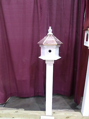 Double sided 2 Hole Bird House with Copper top  Large 20 inches TALL 14 wide