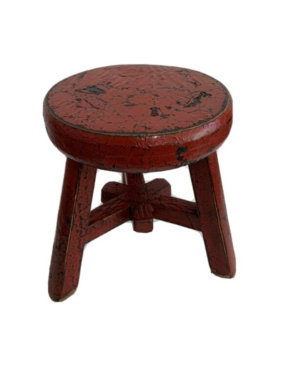 Vintage Wooden Milk Stool Three Leg Chair Shabby Red Collectable 7563