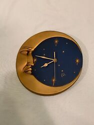 Artful Golden Crescent Moon And Stars On Night Blue Sky Wall Clock