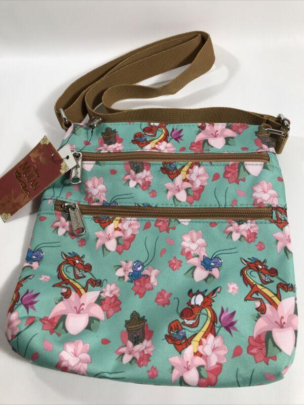 Loungefly Disney Mulan Mushu & Cri-Kee Floral Crossbody Bag