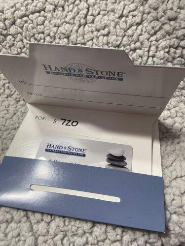 Hand And Stone Gift Card 720.00 Value Never Used Free Shipping. - $500.00