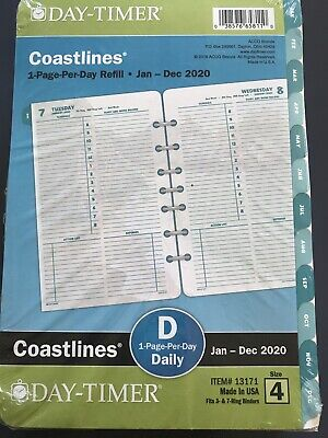 Day-timer 2020 Daily Planner Refill 5-12 X 8-12 Desk Size 4 1 Page Per Day