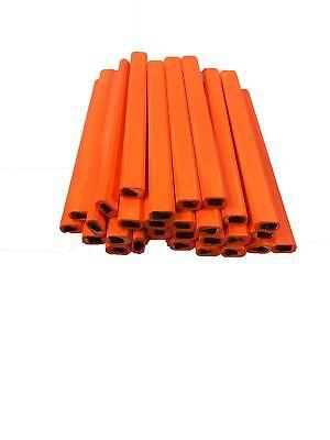 Pencil Boxes In Bulk (Flat Wooden Neon Orange Carpenter Pencils - 72 Count Bulk Box Made In The)