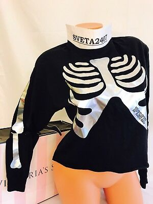 Victoria's Secret PINK Long Sleeve Halloween  Skeleton Shrunken Campus Tee - Victoria Halloween Party