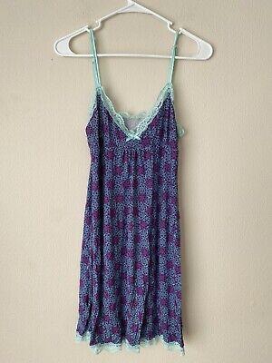 Nordstrom Honeydew Intimates Sleepwear Nightie Size M Blue Pink Adjustable Strap