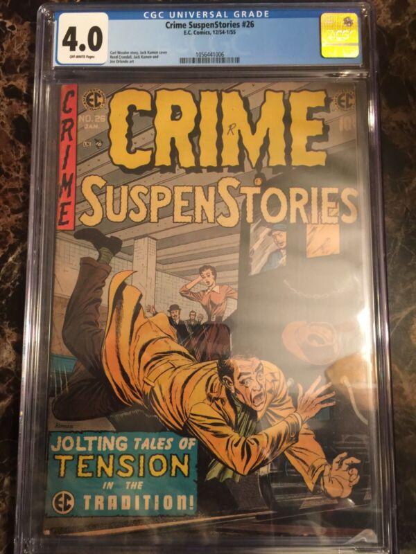 Crime SuspenStories #26 CGC 4.0 OW *Classic EC Jack Kamen Pre-Code Horror Cover*