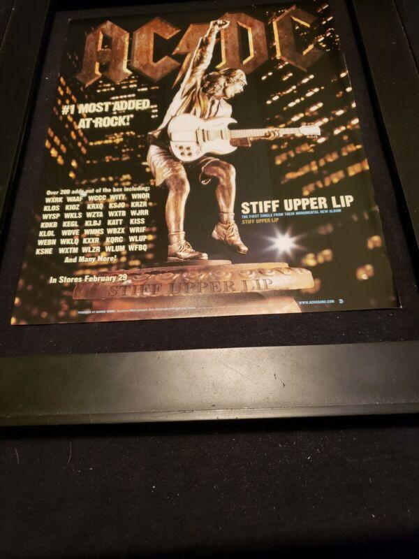 AC/DC Stiff Upper Lip Rare Original Radio Promo Poster Ad Framed!