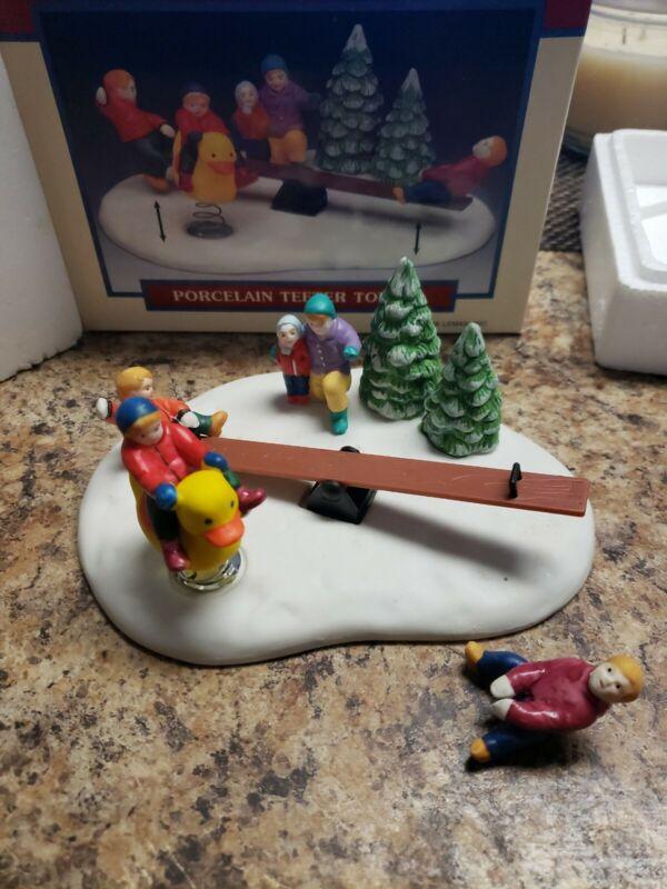 Vintage 1996 Lemax Christmas Village Porcelain Teeter Totter #63168