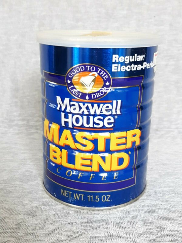 Vintage 1990s Maxwell House Master Blend Coffee Can Tin Sealed Full