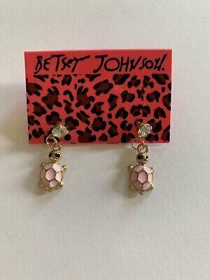 Lovely Pink Enamel Baby Turtle Crystal Betsey Johnson DANGLE Earrings-BJ80056