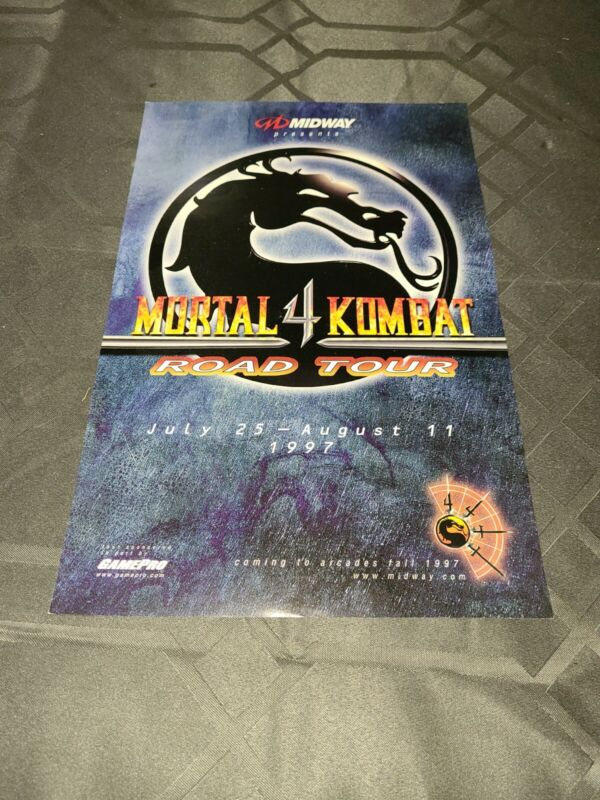 Mortal Kombat 4 Road Tour Poster 1997 Midway Gamepro  💥RARE💥 (001)
