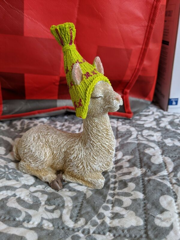 Llama Figurine with Darling Ski Cap - Ceramic - New