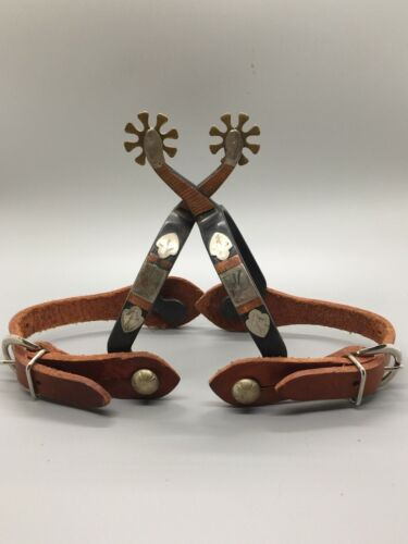 Western Ladies Roping Spurs, Leather strap, 8 pt. rowel, Brass /Silver Chevron