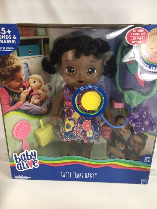 NEW Hasbro Baby Alive Sweet Tears Baby AA African American She Cries 35+ Sounds