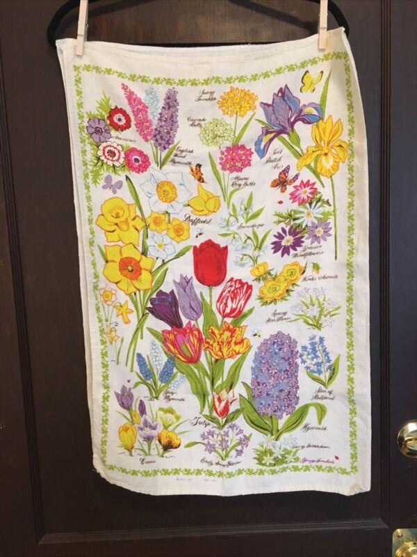 Vintage 1978 Flowers Floral Dish Tea Towel Garden Spring Colorful