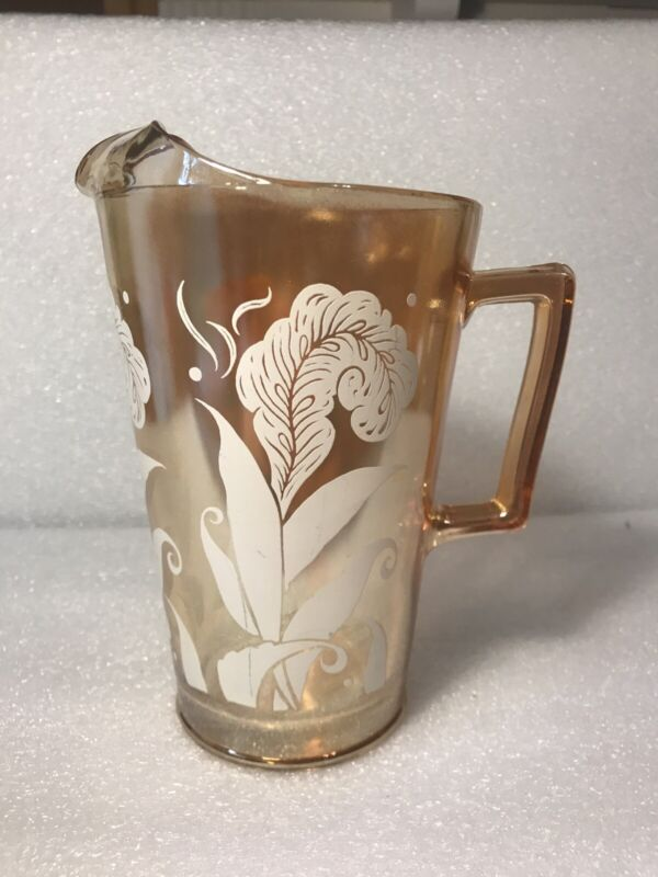 Vtg Peach Marigold Luster Glass Pitcher with White Flower Design