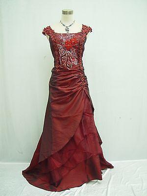 Cherlone Plus Size Burgundy Ball Wedding/Evening Formal Bridesmaid Dress 8-10