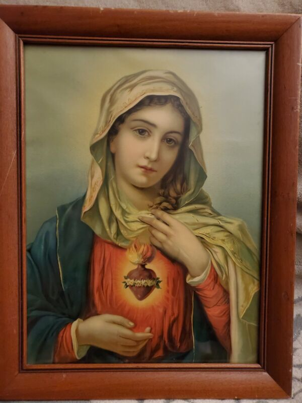 Vintage Holy Mother Mary Religious Lithograph Framed Art