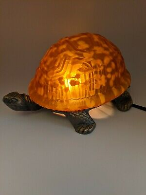 AMBER TORTOISE TURTLE STEEL BRASS FINISH & GLASS ACCENT TABLE LAMP NIGHT LIGHT  Tortoise Glass Table Lamp
