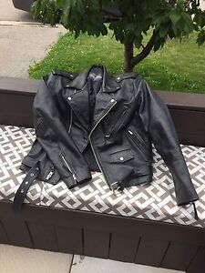Leather Motorcycle Jacket (size Sm)