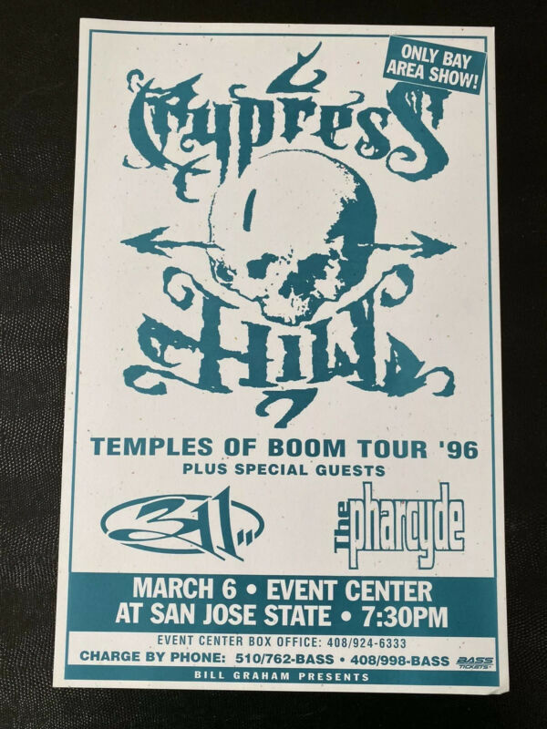 Cypress Hill 311 The Pharcyde San Jose State University Vintage Poster 1996