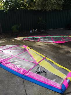 3 surf sail plus old  board and boom   bundle