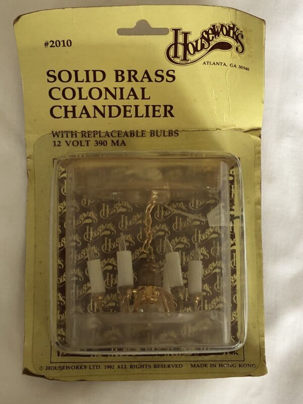 Houseworks Dollhouse Miniature 12v 6-Arm Brass Colonial Chandelier #2010 NEW