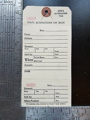Alteration Tags Qty 100 Perforated Merchandise Price Manila Claim Ticket 2 Part