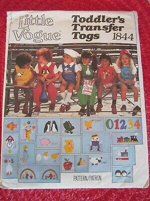 Jumper Bloomers (VOGUE 1844 TODDLERS' JUMPER Jumpsuit BLOOMERS Shirt TRANSFERS Pattern Sz 2 UNCUT)