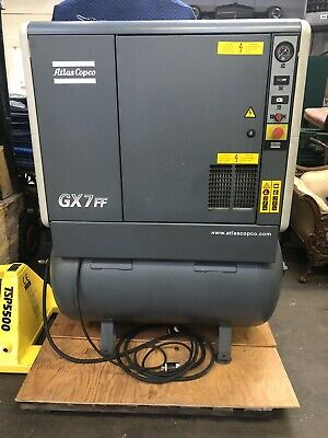 Atlas Copco Gx7ff Gx7 Ff Rotary Screw 10hp 71 Gallon Air Compressor W Dryer