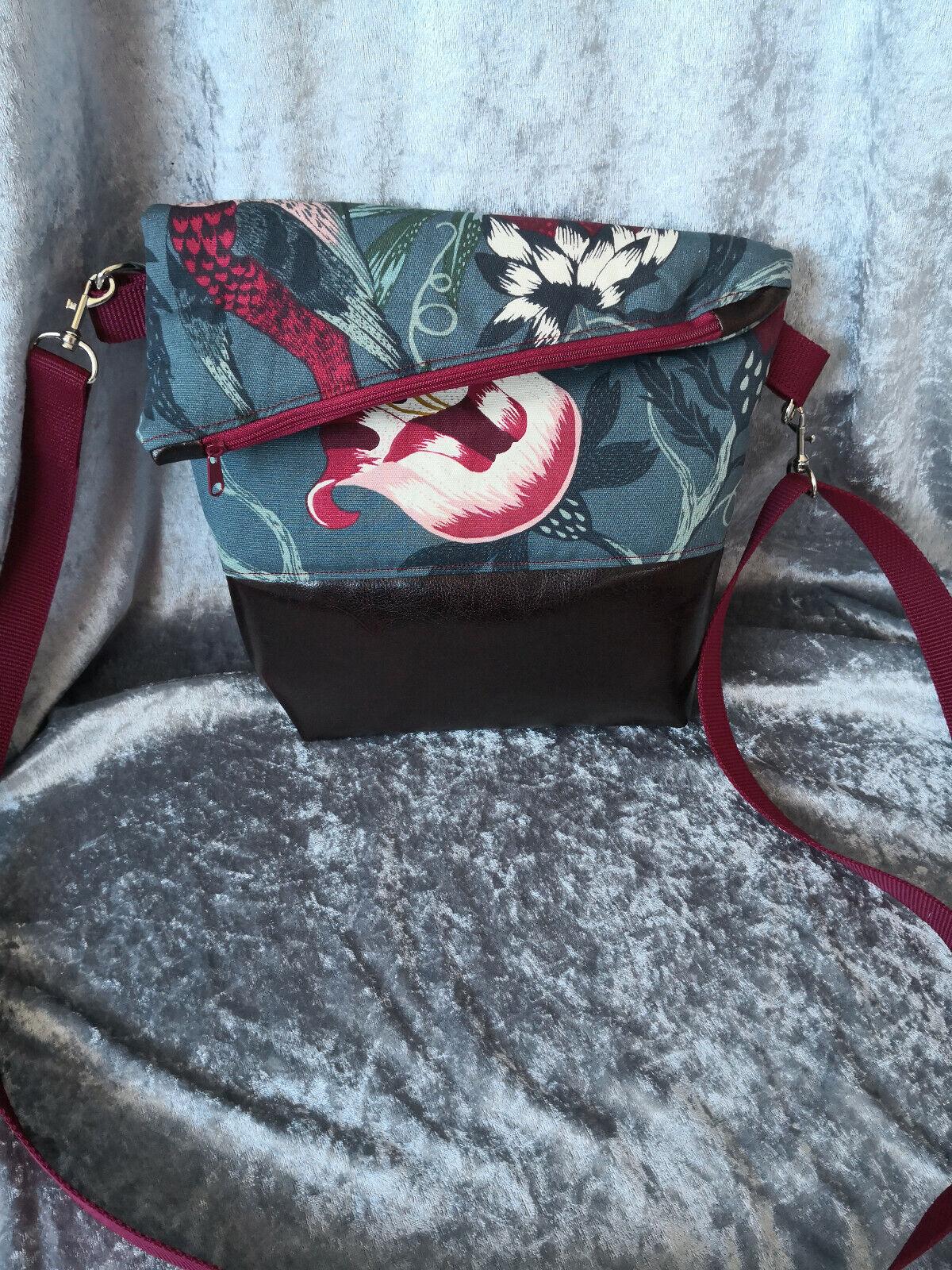 Ausgefallene Damen-Handtasche - Foldover*Bordeaux + Stoff Philodendron Neu