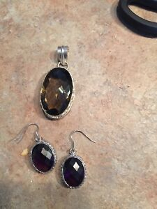 925  gemstone earrings And pendant set