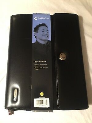 Monarch Note Pad Black S Leather Franklin Covey Planner Zipper Portfolio