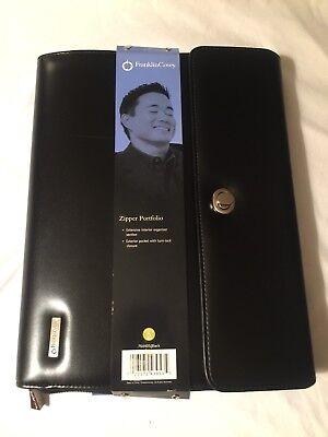 Monarch Note Pad Black S Leather Franklin Covey Planner Zipper Portfolio