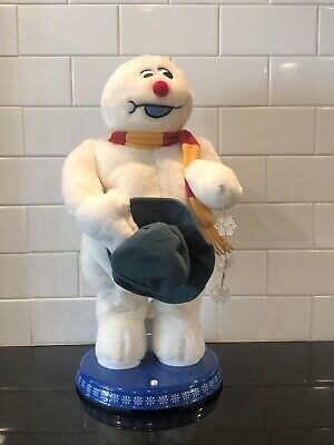 Gemmy Spinning Snowflake Frosty The Snowman Animated Plush Sing Dances Box