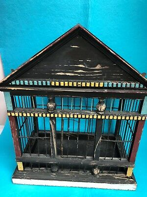 CHINESE BIRD CAGE-ART-METAL & WOOD -HANDCRAFTED-INTRICATE-AMAZING DESIGN-ANTIQUE
