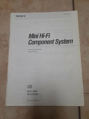 Sony Mhc 2600 Mini Hi-fi Component System Manual