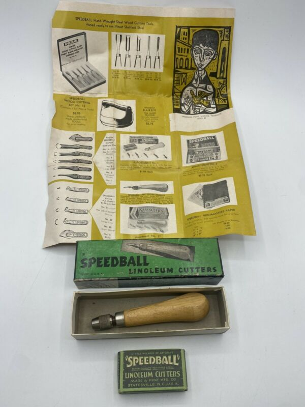 Vintage Speedball Linoleum Cutters Tool With Manual & Box