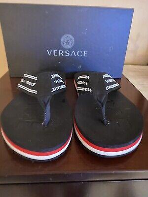 Versace Nastro Logo Print Black Flip Flops EU 46 US 13 W Box