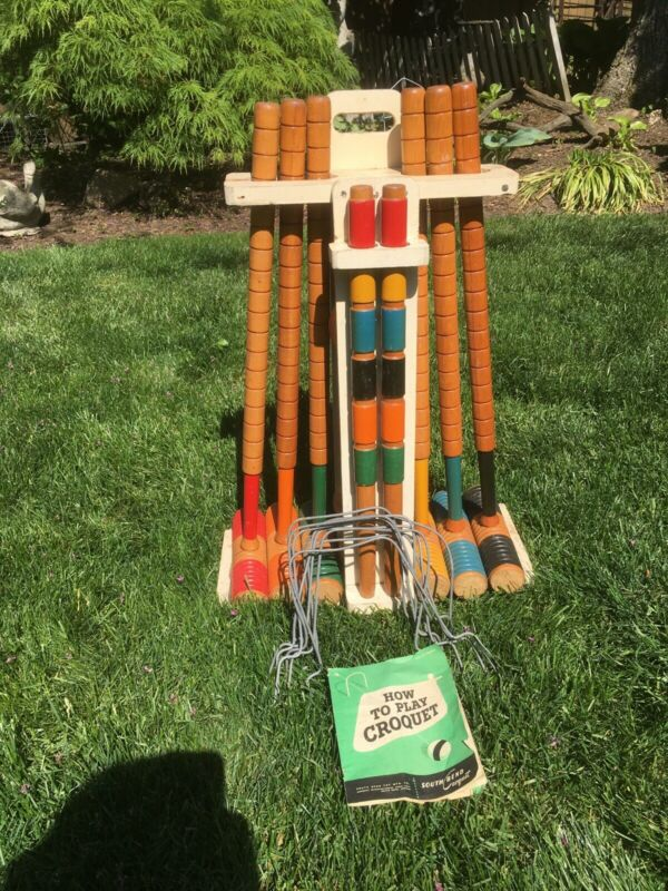 Vintage South Bend Six Player Croquet Set # 7856/56 Original Used with booklet