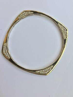 Sonia Bitton Vermeil Square Round CZ Bangle Bracelet  925
