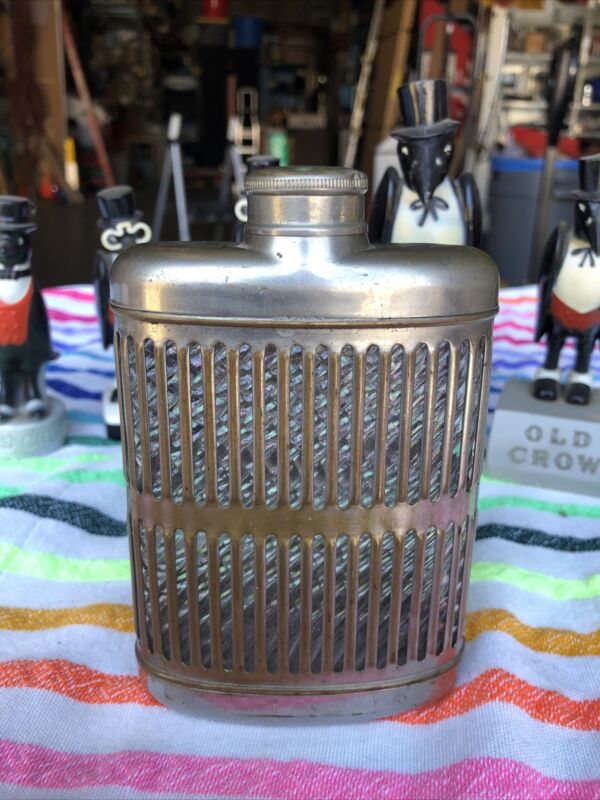 """Vintage Silver Over Brass Glass Whiskey / Hip Flask 5.5"""" - Perfect Use Wear"""