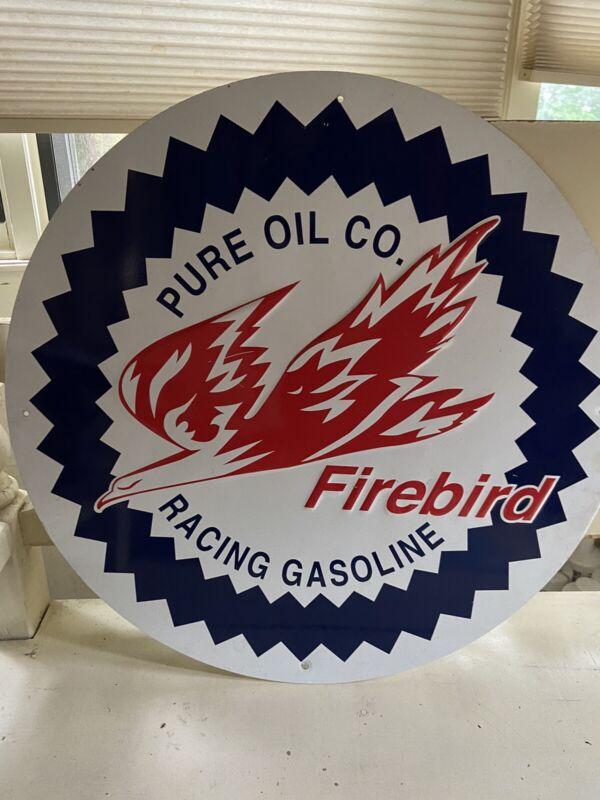"FIREBIRD Pure Oil Co. Racing Gasoline 24"" Circular Embossed Tin Metal Sign"