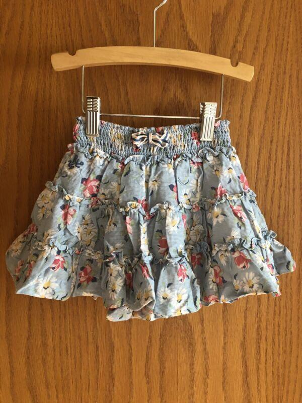 Ralph Lauren Toddler Girls Light Blue Floral Skirt Size 2T