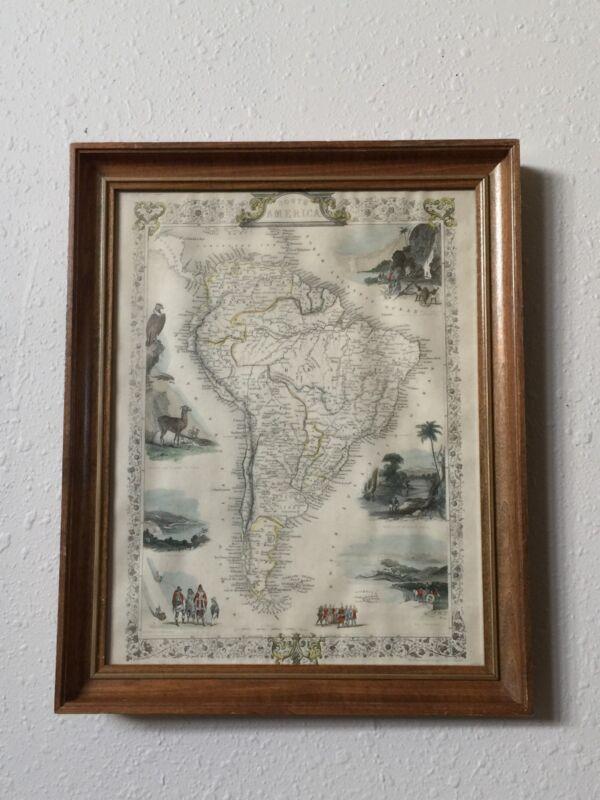 J. Rapkin Vintage South American Engraved Illustration Atlas Map Dated 1851